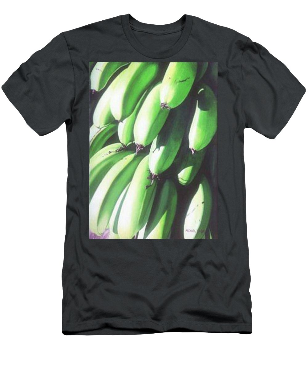 Hyperrealism Men's T-Shirt (Athletic Fit) featuring the painting Green Bananas I by Michael Earney