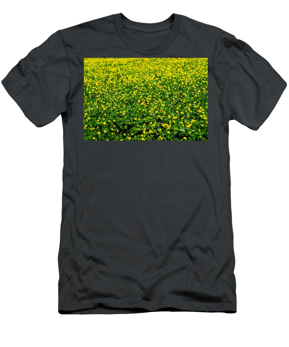 Field Men's T-Shirt (Athletic Fit) featuring the photograph Green Field Of Yellow Flowers by Totto Ponce