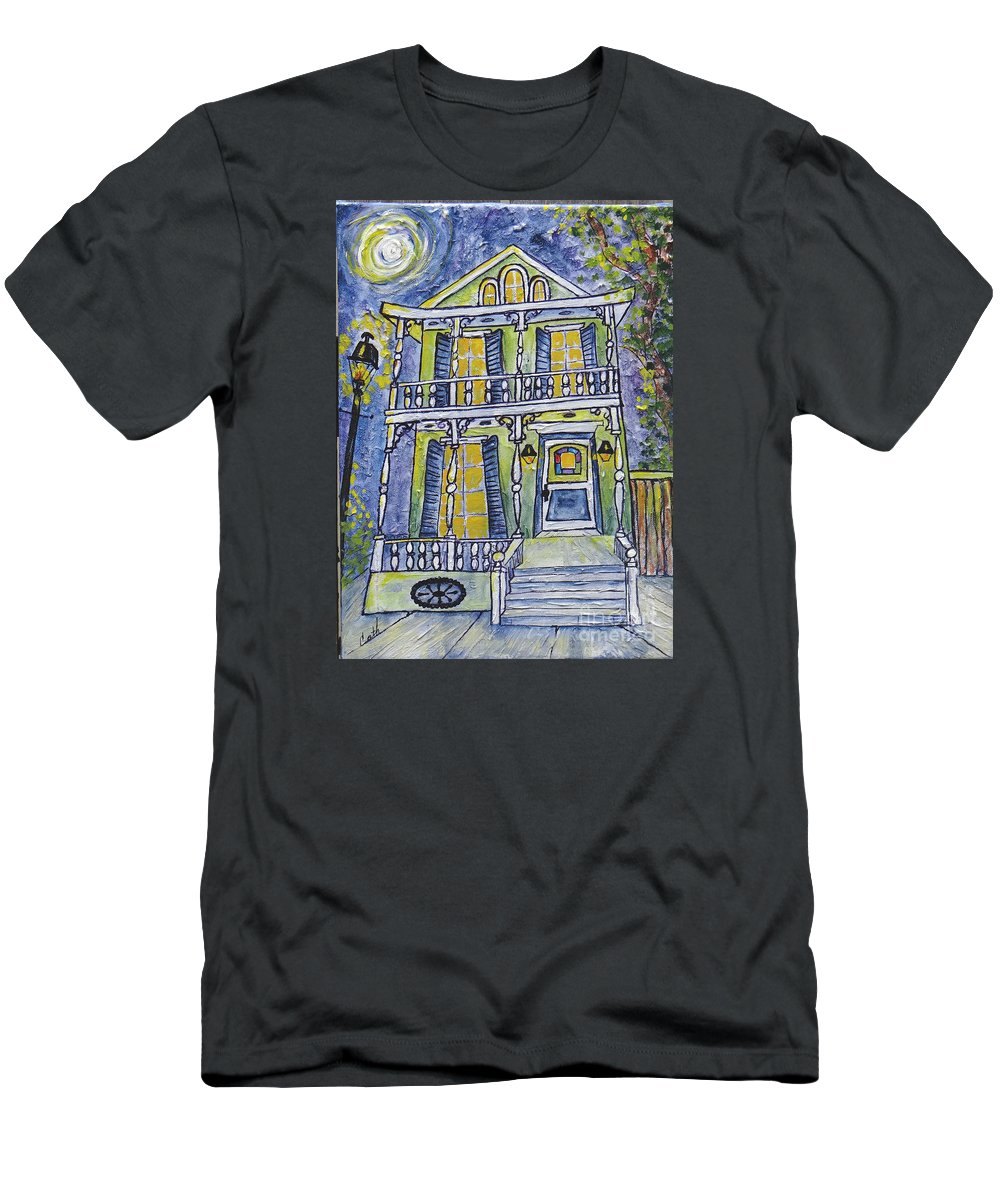 Structure Men's T-Shirt (Athletic Fit) featuring the painting Green Garden District Home by Catherine Wilson