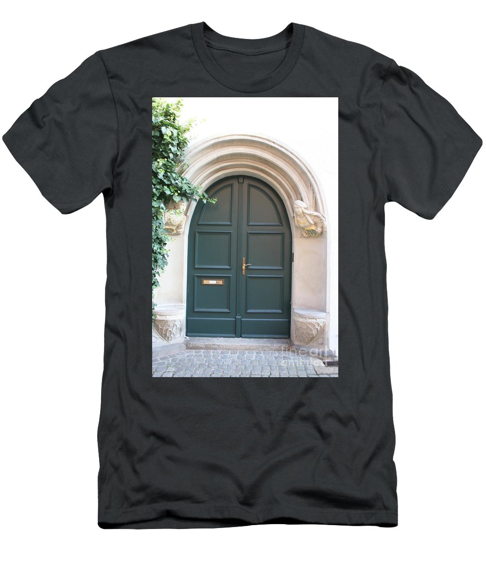 Door Men's T-Shirt (Athletic Fit) featuring the photograph Green Guarded Door by Christiane Schulze Art And Photography
