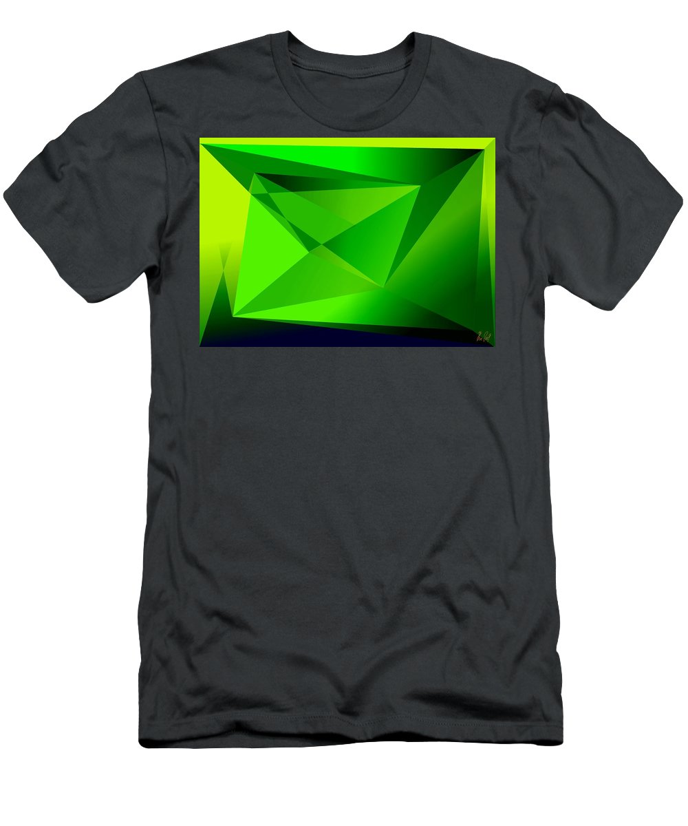 Pyramiden Men's T-Shirt (Athletic Fit) featuring the digital art Green by Helmut Rottler