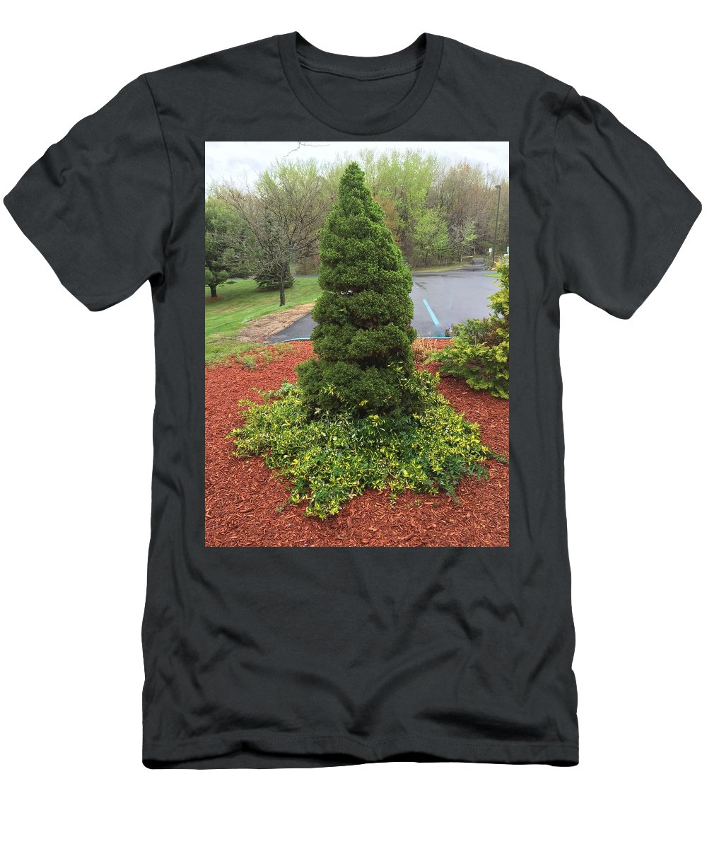 Spring Tree Men's T-Shirt (Athletic Fit) featuring the photograph Green Statue by Sabina Trzebna