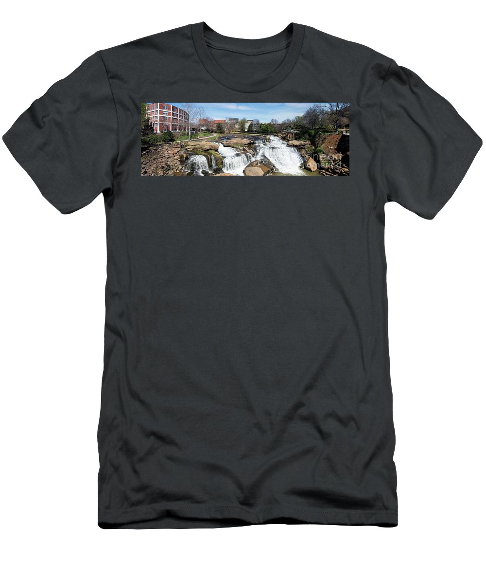Carolina Men's T-Shirt (Athletic Fit) featuring the photograph Greenville Panorama by Bill Cobb