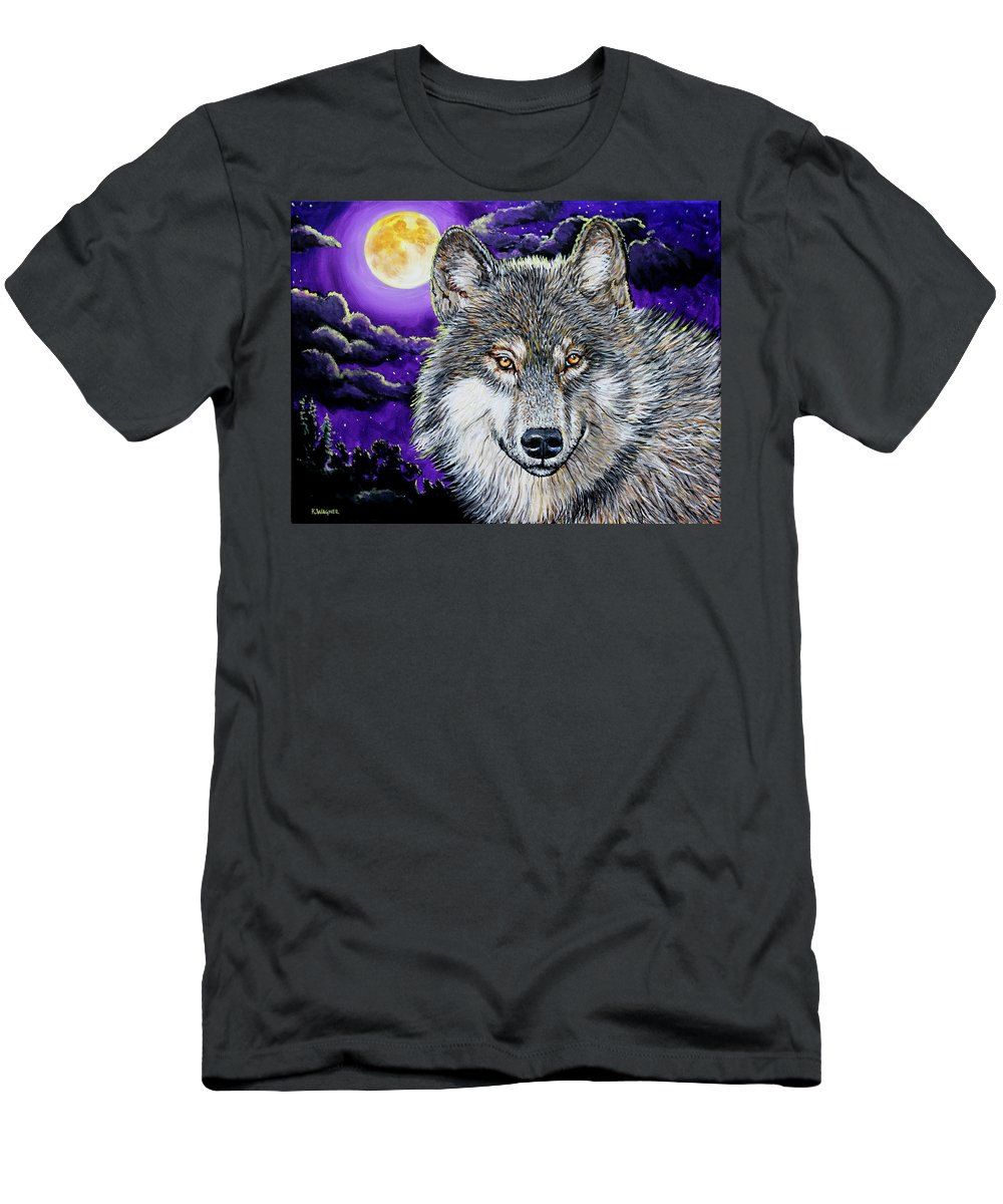 Wolf Men's T-Shirt (Athletic Fit) featuring the painting Grey Wolf And Full Moon by Karl Wagner