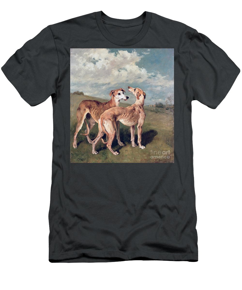 Greyhounds (oil On Canvas) By John Emms (1843-1912) Men's T-Shirt (Athletic Fit) featuring the painting Greyhounds by John Emms