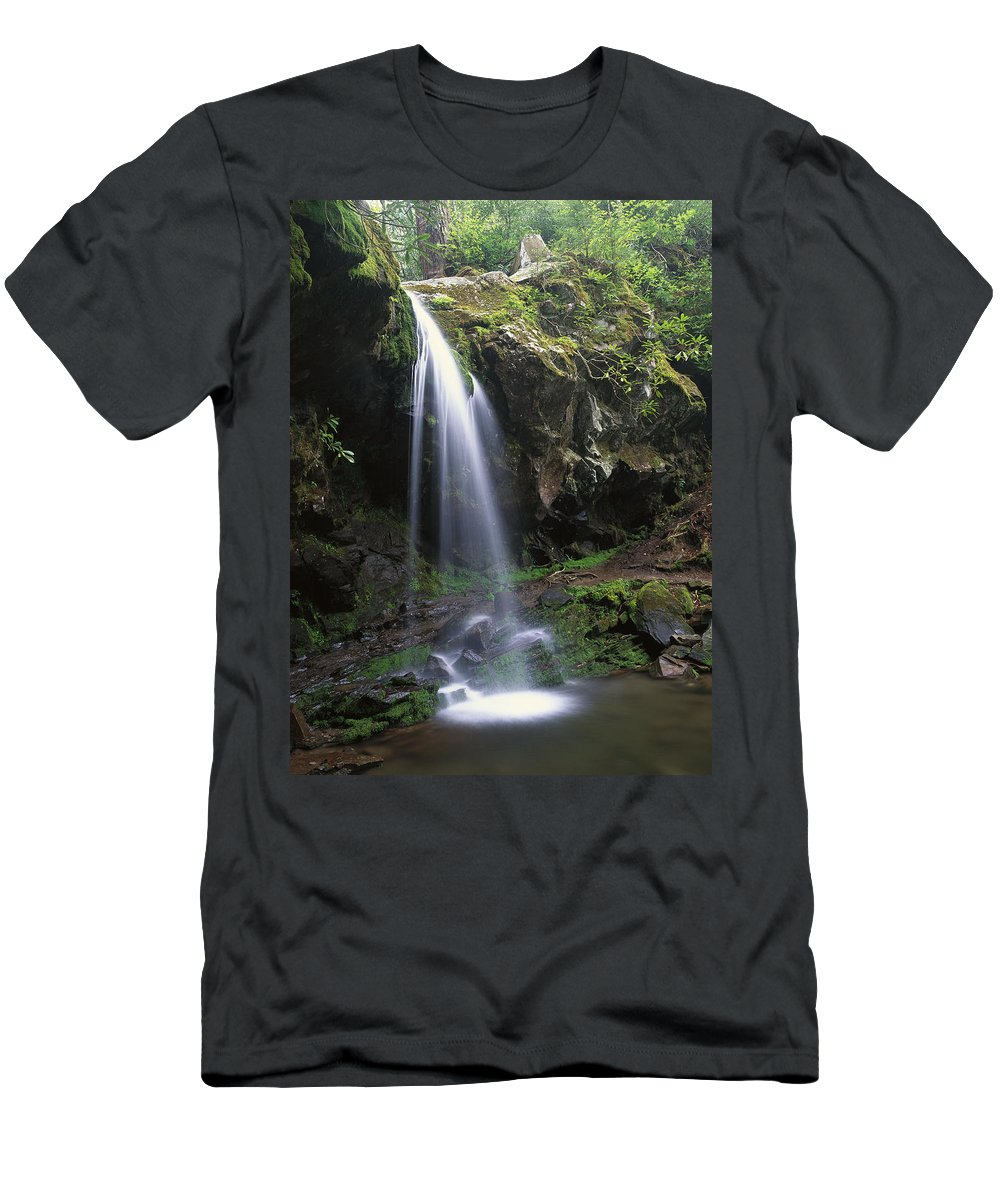 00174061 Men's T-Shirt (Athletic Fit) featuring the photograph Grotto Falls In The Great Smokies by Tim Fitzharris
