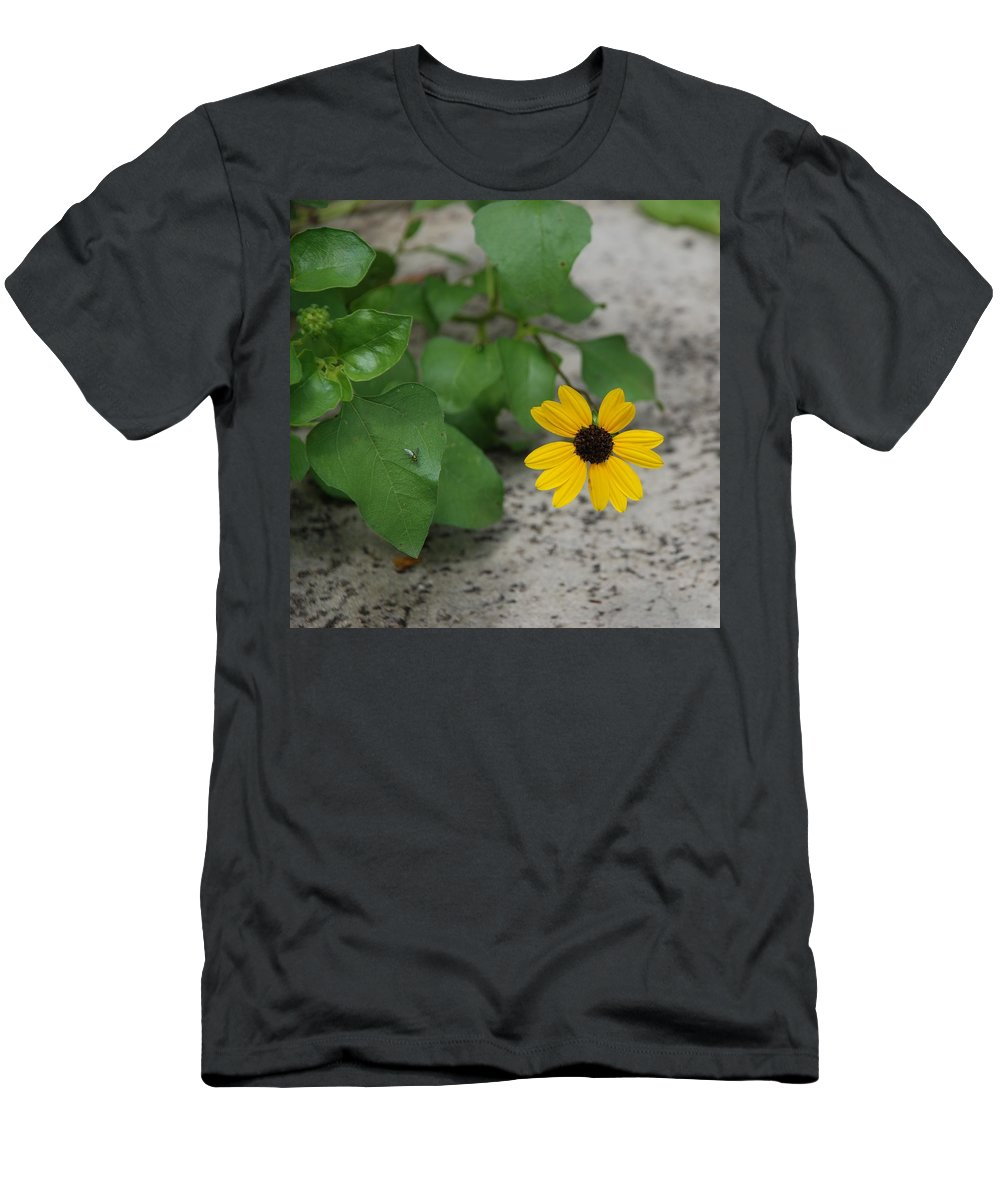 Macro Men's T-Shirt (Athletic Fit) featuring the photograph Grounded Sunflower by Rob Hans