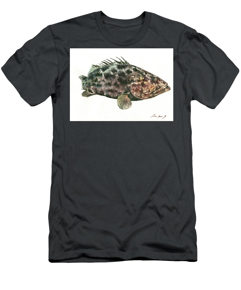 Grouper Fish Men's T-Shirt (Athletic Fit) featuring the painting Grouper Fish by Juan Bosco