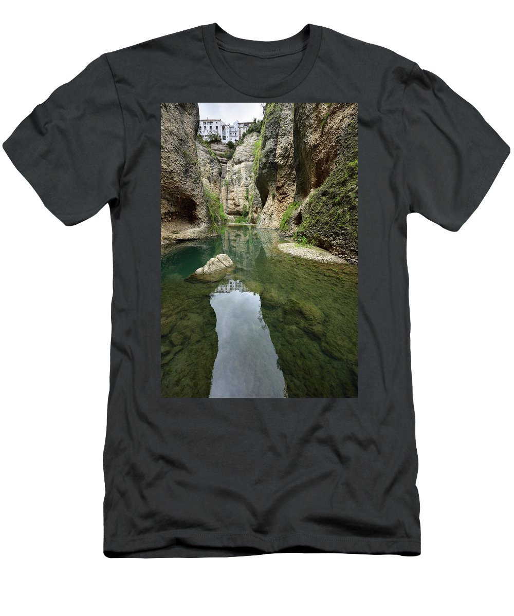 Cliff Men's T-Shirt (Athletic Fit) featuring the photograph Guadalevin River At El Tajo Gorge From The Bottom Of The Secret by Reimar Gaertner