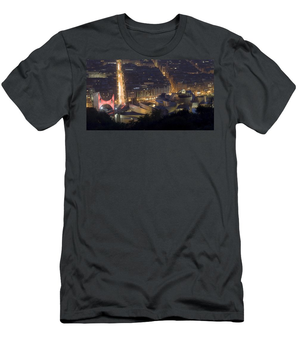 Spain Men's T-Shirt (Athletic Fit) featuring the photograph Guggenheim At Night II by Rafa Rivas