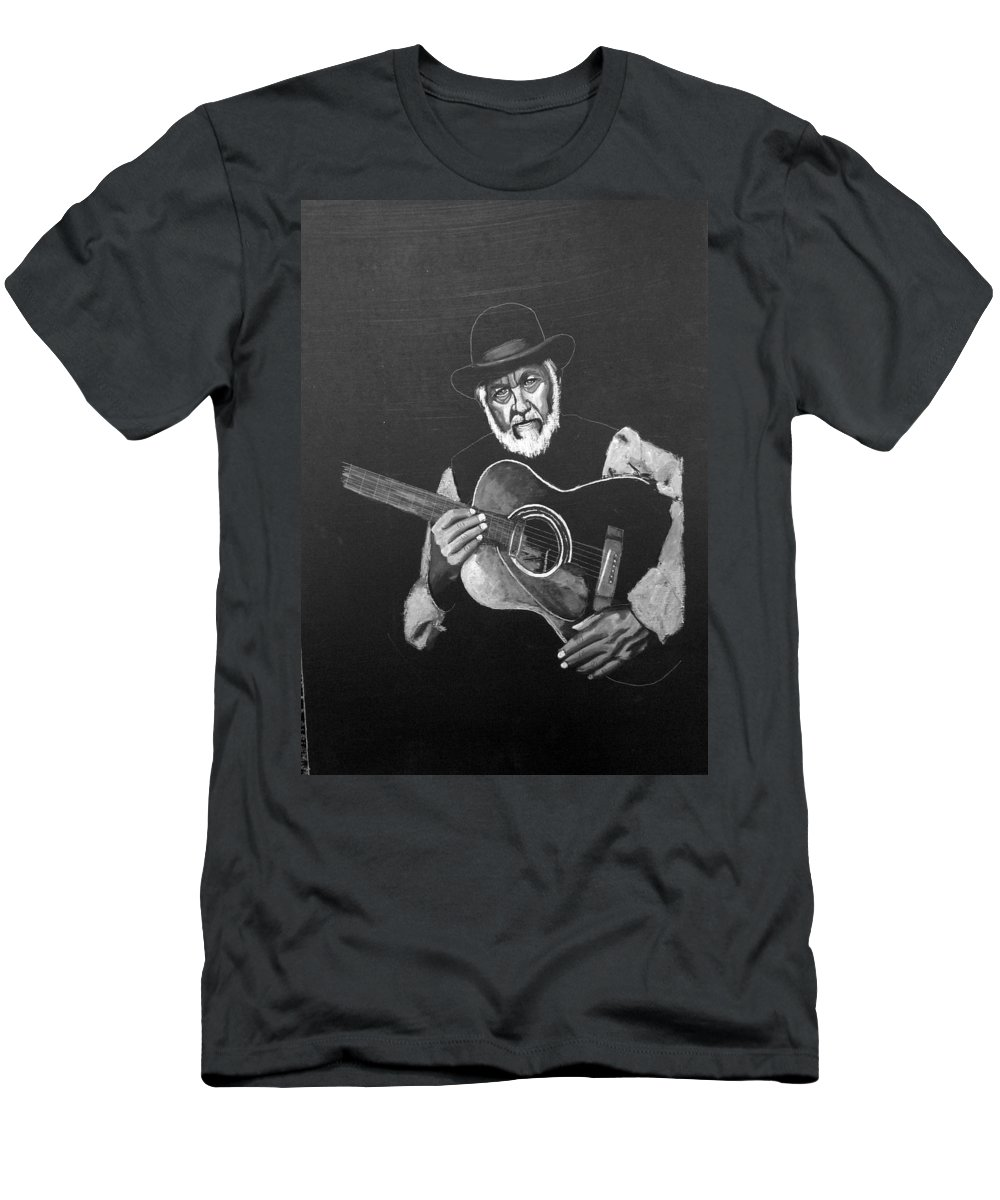 Guitar Men's T-Shirt (Athletic Fit) featuring the painting Guitar Player by Richard Le Page