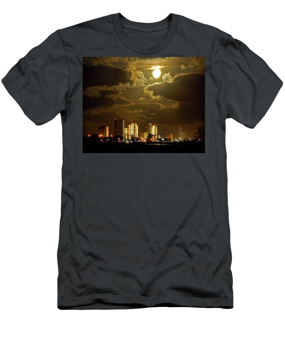 Beach Men's T-Shirt (Athletic Fit) featuring the painting Gulf Shores Night Skys by Michael Thomas