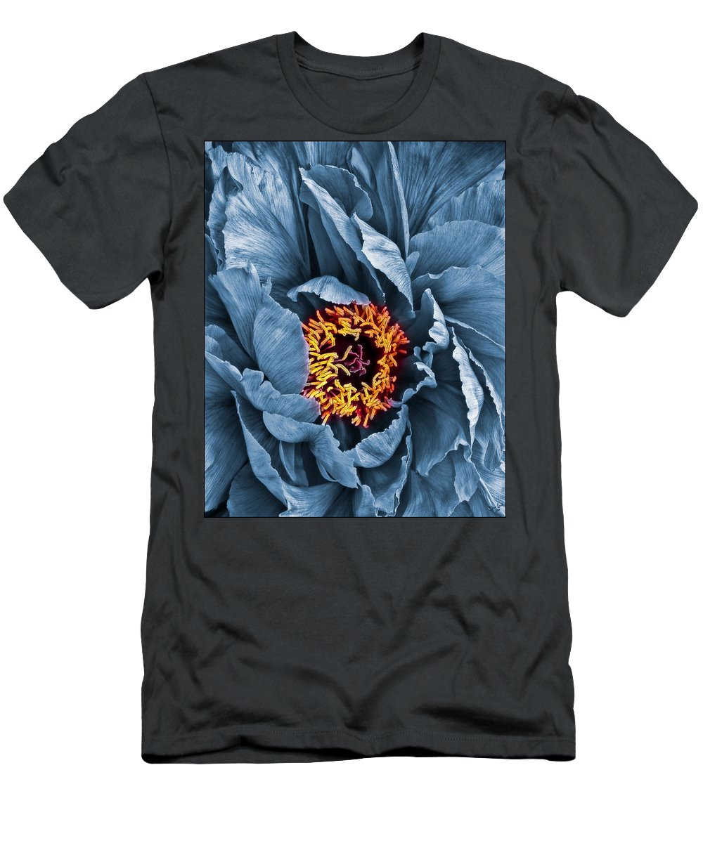 Peony Men's T-Shirt (Athletic Fit) featuring the photograph Gunmetal Peony by Chris Lord