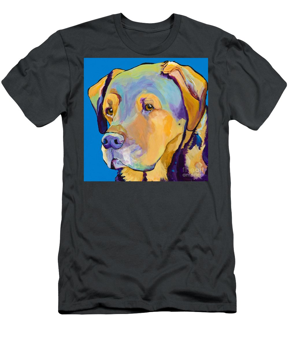 Dog Portrait Men's T-Shirt (Athletic Fit) featuring the painting Gunner by Pat Saunders-White