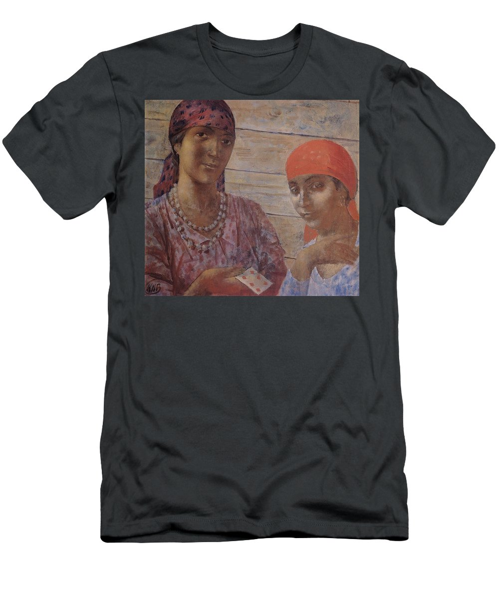 Gypsies Kuzma Petrov-vodkin - 1926-1927 Men's T-Shirt (Athletic Fit) featuring the painting Gypsies Kuzma Petrov-vodkin - 1926-1927 by Adam Asar