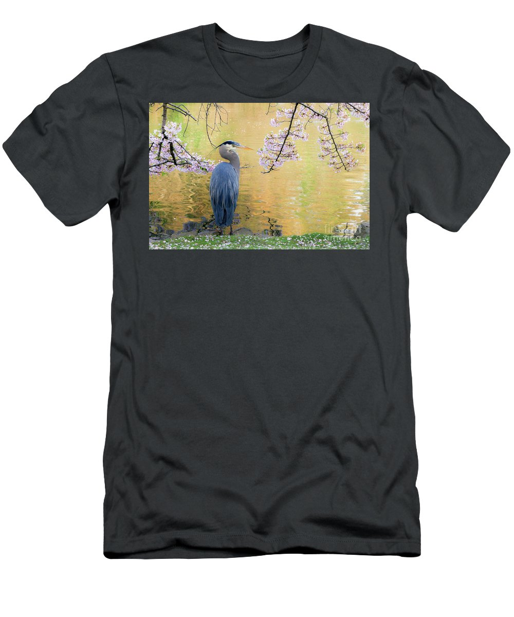 Cherry Blossoms Men's T-Shirt (Athletic Fit) featuring the photograph Haiku, Heron And Cherry Blossoms by Michael Wheatley