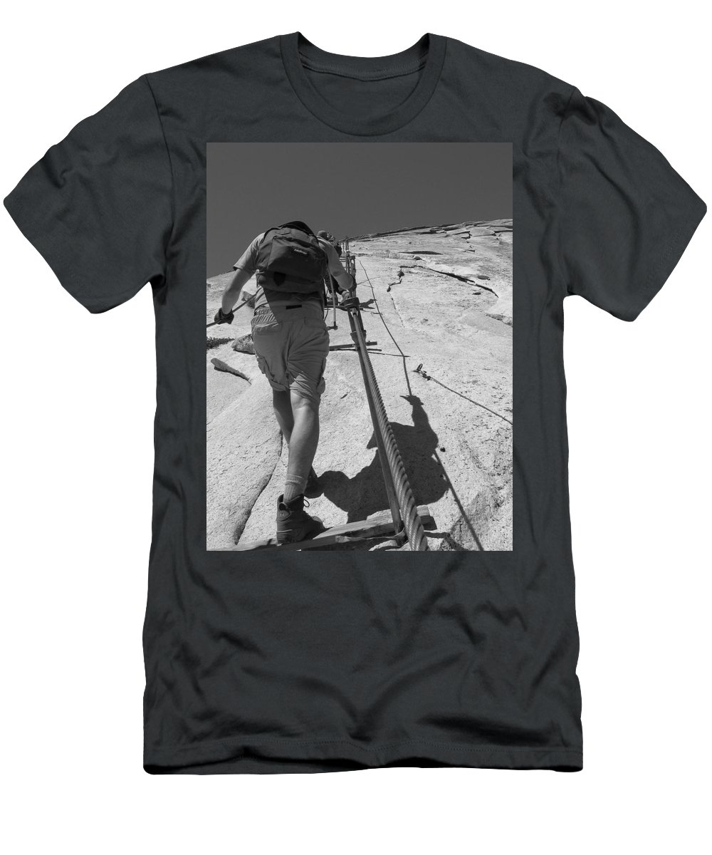 Half Dome Men's T-Shirt (Athletic Fit) featuring the photograph Half Dome Cables by Travis Day
