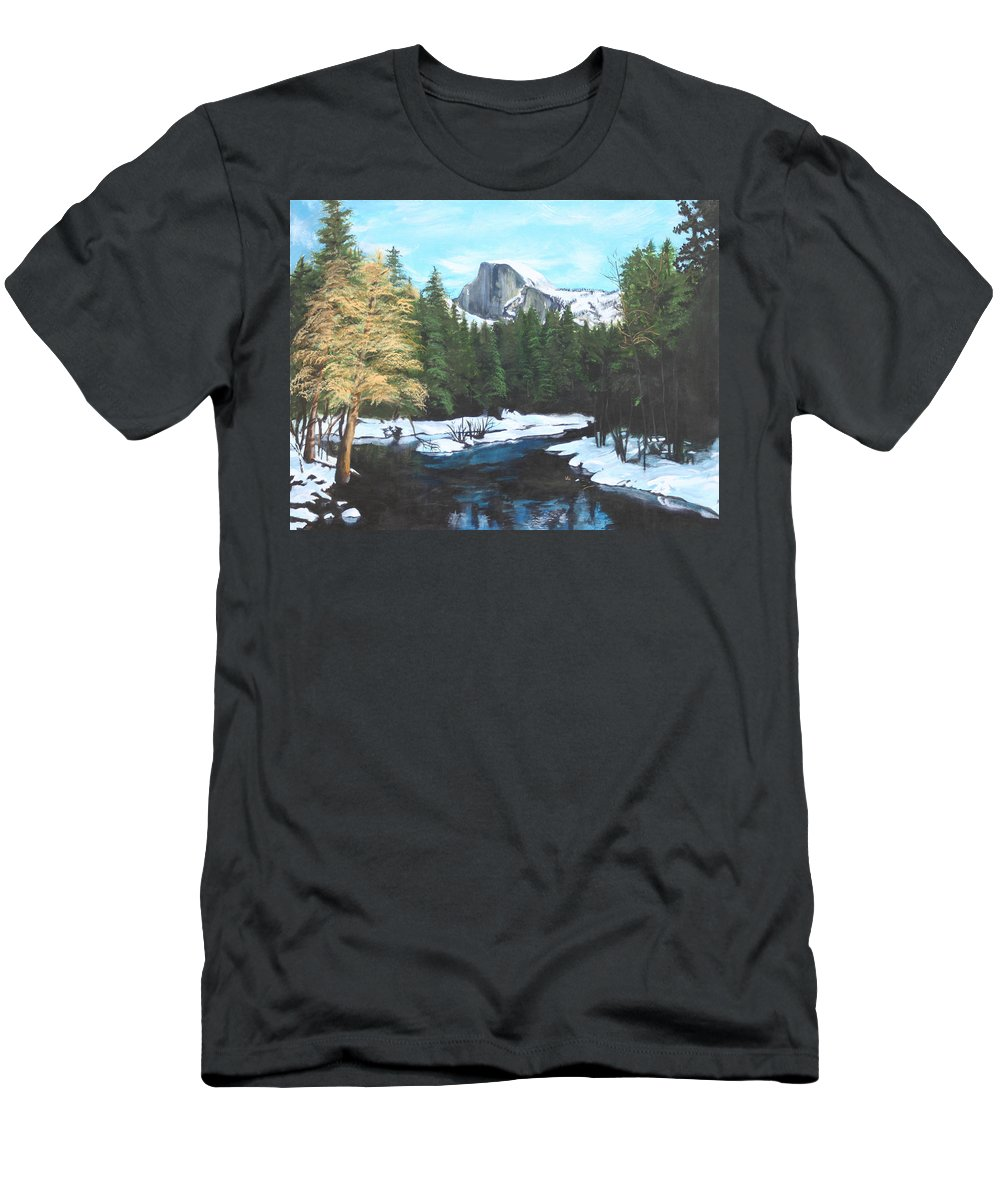 Lkandscape Men's T-Shirt (Athletic Fit) featuring the painting Half Dome Snow by Travis Day
