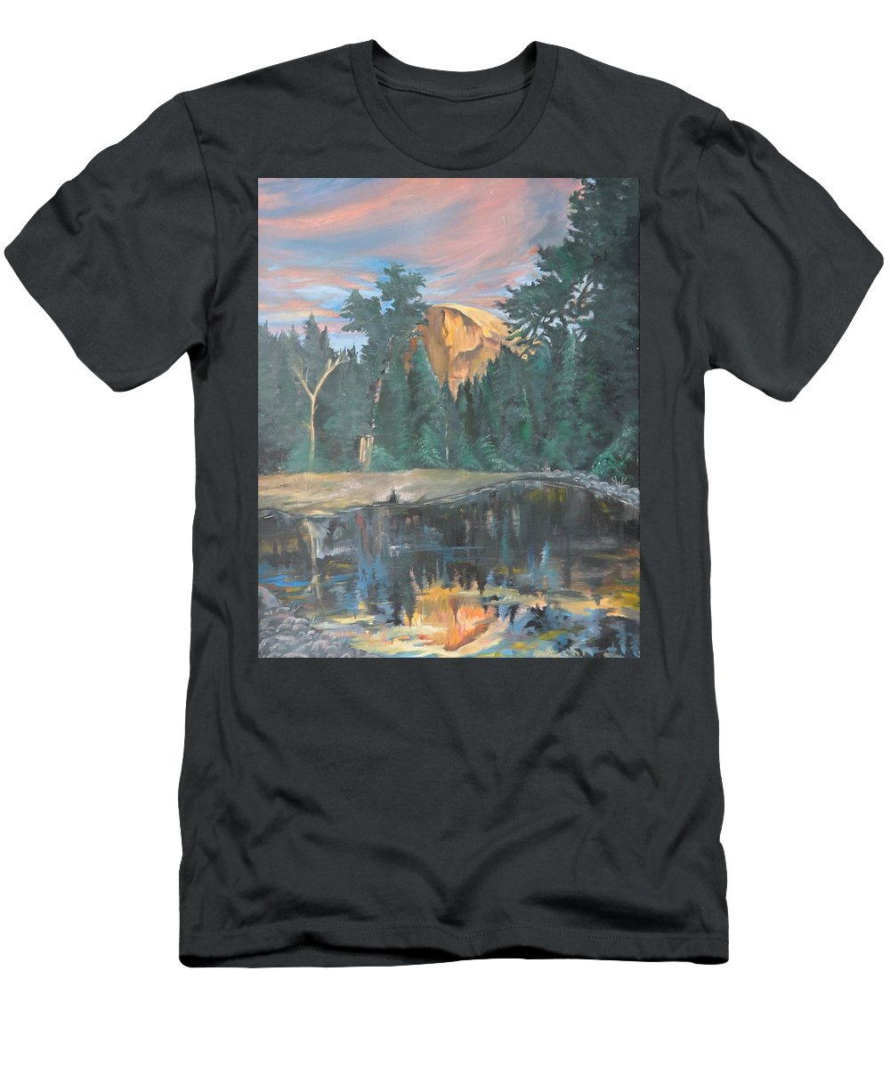Sunset T-Shirt featuring the painting Half Dome Sunset by Travis Day