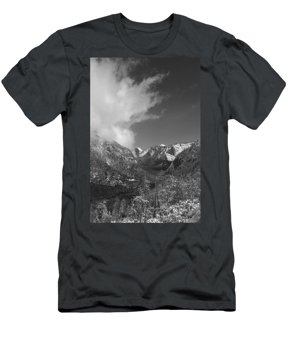 Half Dome Men's T-Shirt (Athletic Fit) featuring the photograph Half Dome Winter by Travis Day
