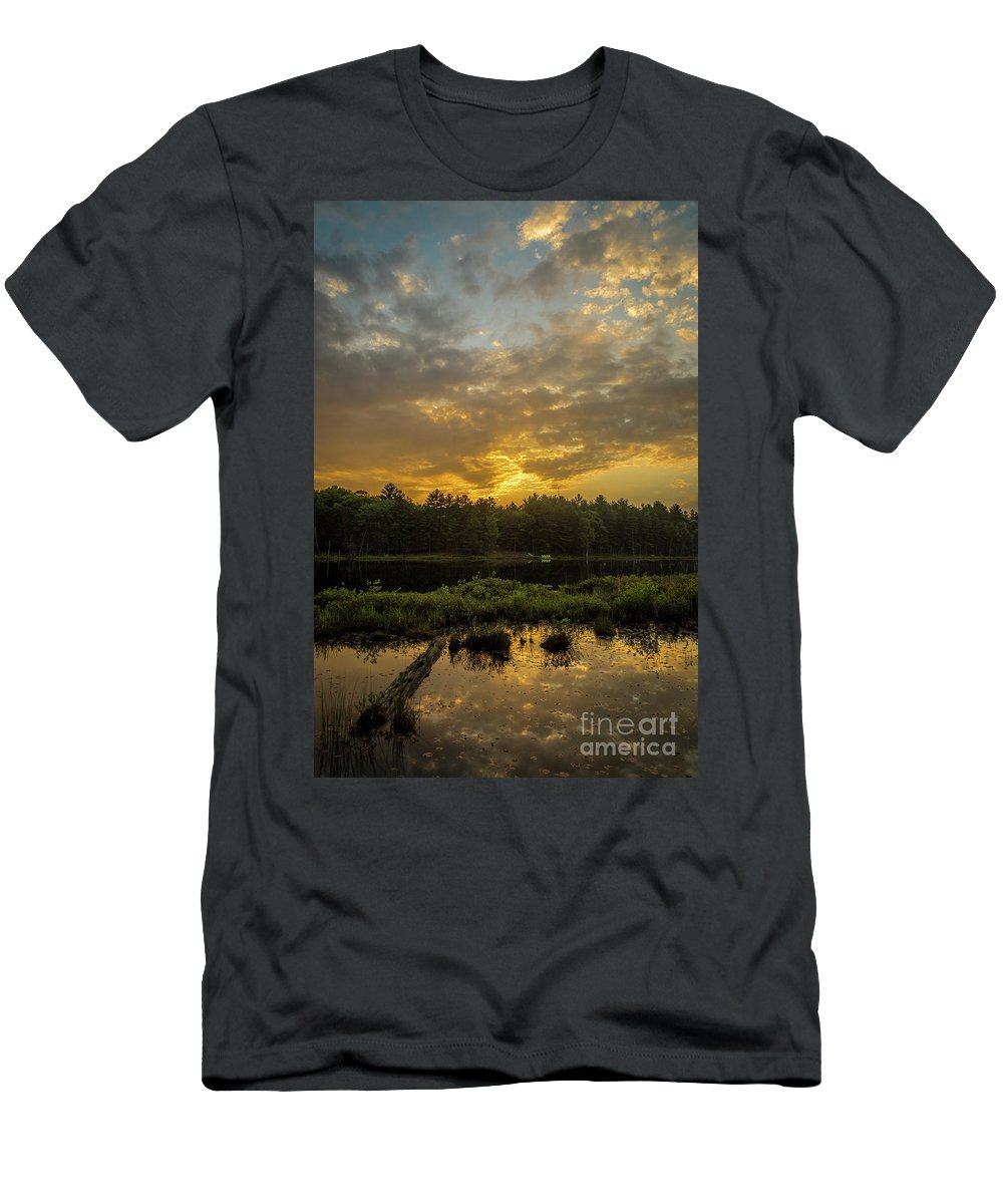 Calm Men's T-Shirt (Athletic Fit) featuring the photograph Haliburton Sunrise by Roger Monahan