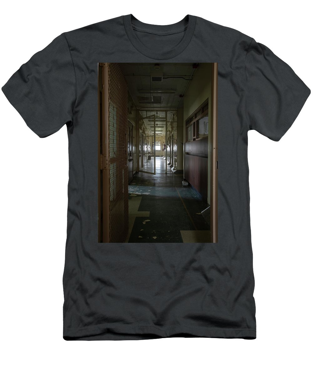 Abandoned Men's T-Shirt (Athletic Fit) featuring the photograph Hallway With Solitary Confinement Cells In Prison Hospital by Karen Foley