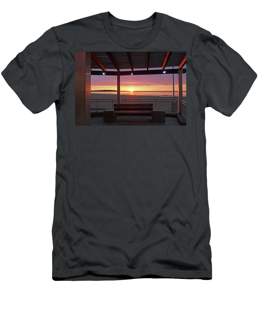 Hampton Men's T-Shirt (Athletic Fit) featuring the photograph Hampton Beach Sunrise Hampton Beach State Park Hampton Nh Bench 2 by Toby McGuire