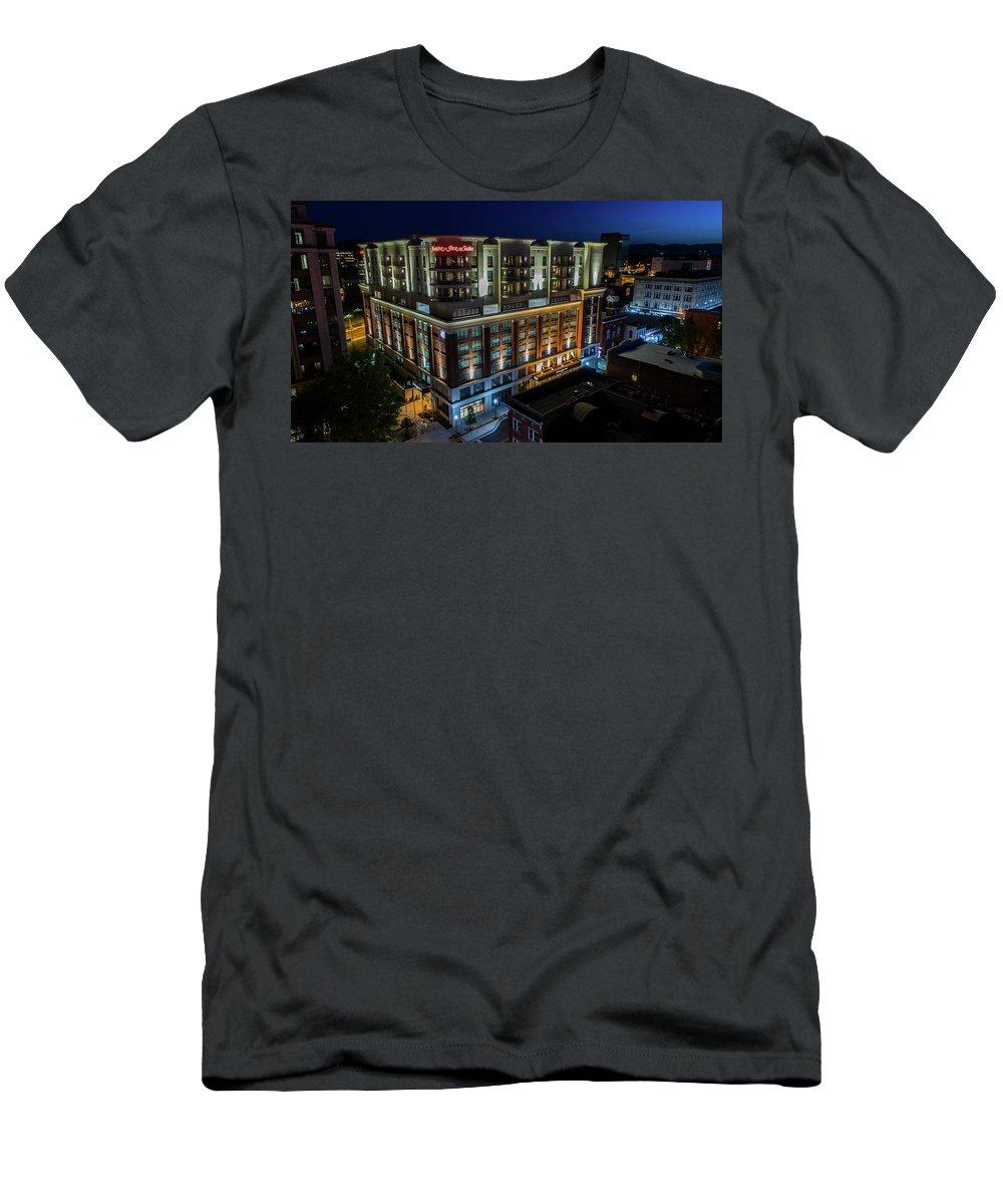 Hampton Inn Downtown Roanoke Men's T-Shirt (Athletic Fit) featuring the photograph Hampton Inn Downtown by Star City SkyCams