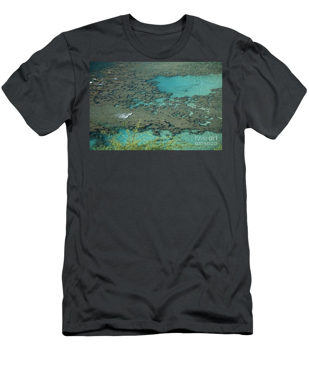 Bay Men's T-Shirt (Athletic Fit) featuring the photograph Hanauma Bay Reef And Snorkelers by Peter French - Printscapes