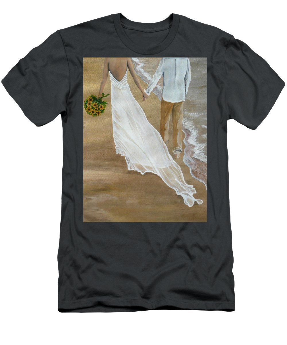 Bride And Groom Men's T-Shirt (Athletic Fit) featuring the painting Hand In Hand by Kris Crollard