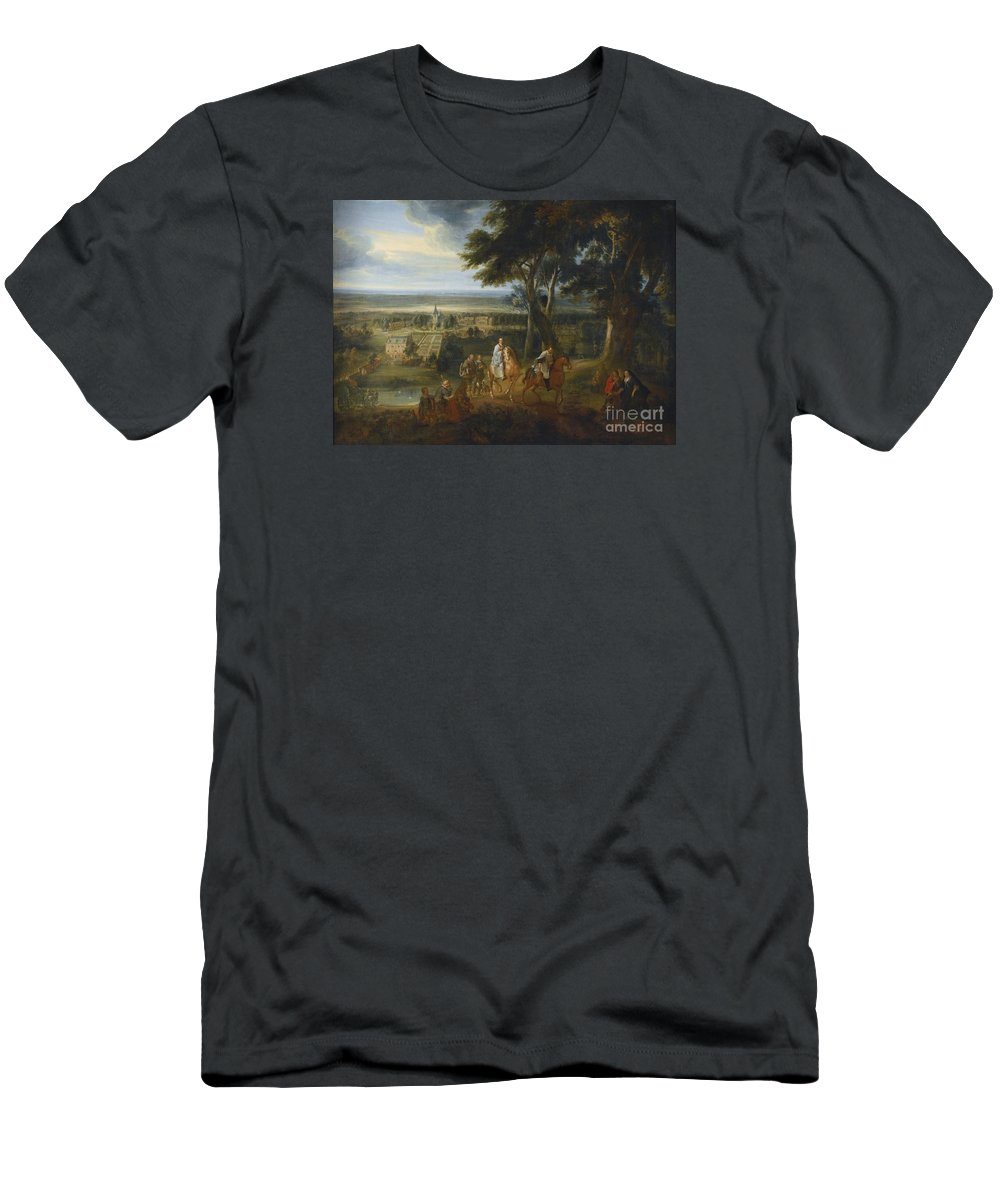 Jacques D'arthois Rudolf Hapsburg (1218- 1291) Handing Over His Horse To A Priest Delivering The Viaticum.night Men's T-Shirt (Athletic Fit) featuring the painting Handing Over His Horse by MotionAge Designs