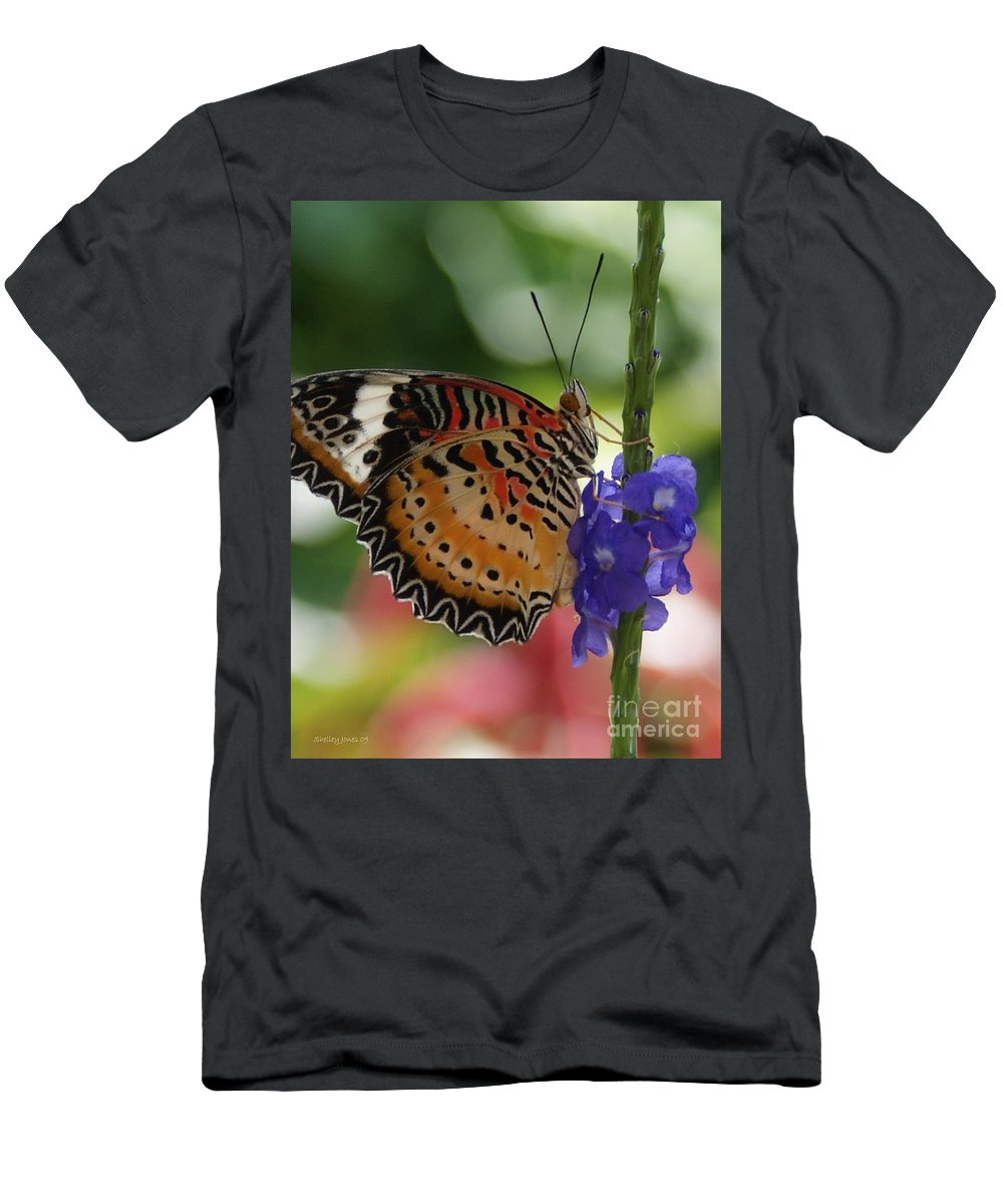 Butterfly Men's T-Shirt (Athletic Fit) featuring the photograph Hanging On by Shelley Jones