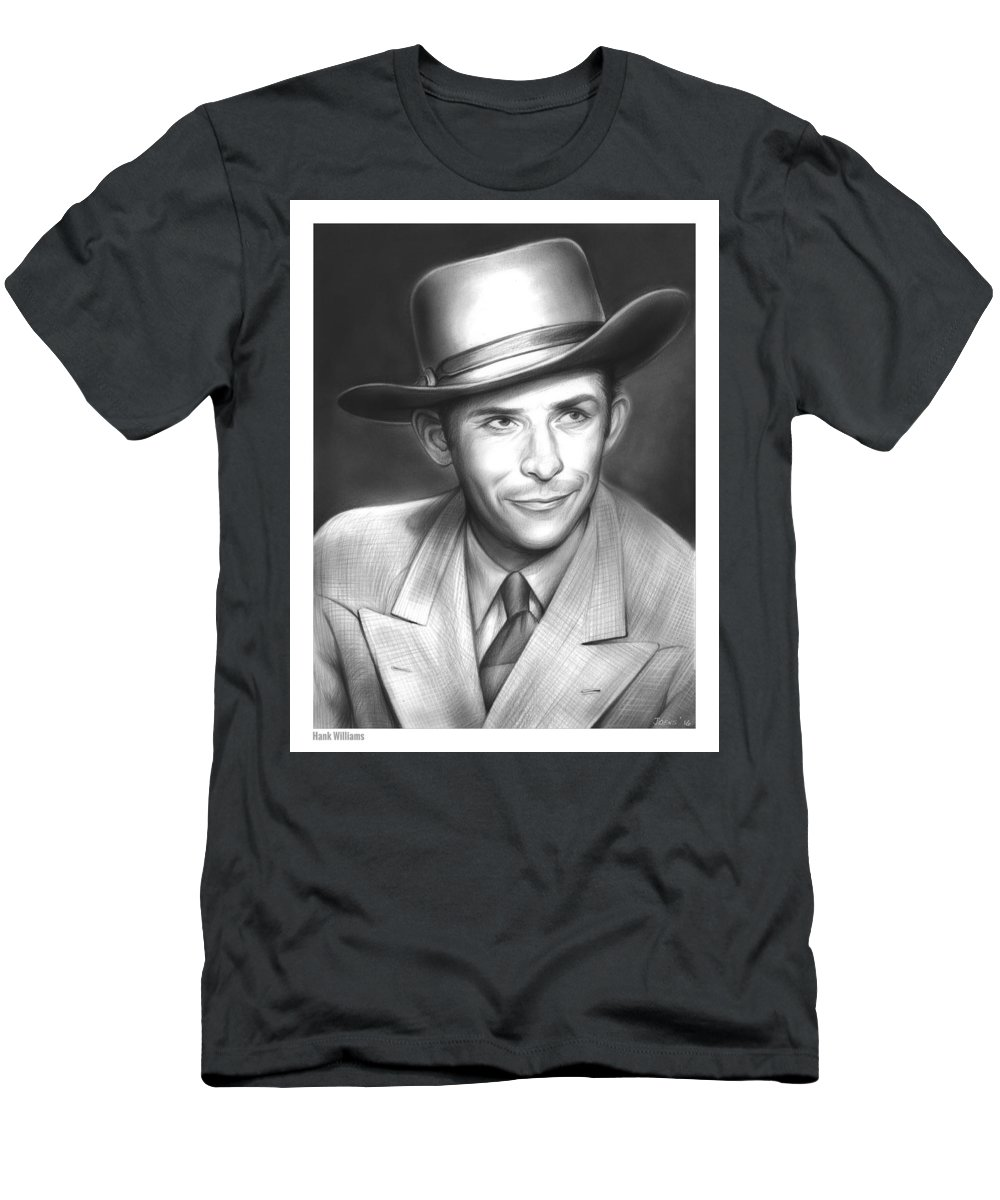 Hank Williams Men's T-Shirt (Athletic Fit) featuring the drawing Hank Williams by Greg Joens