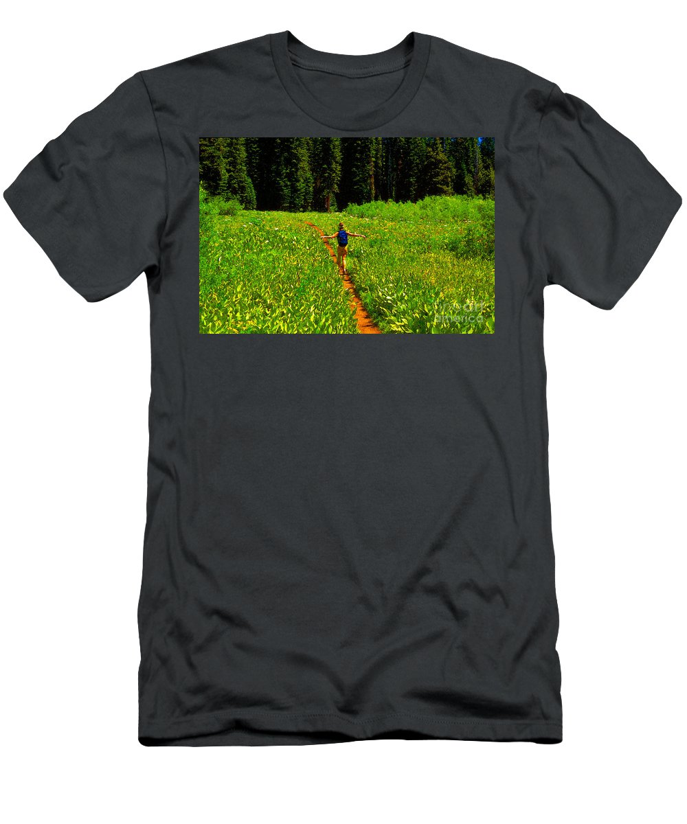 Hiking Men's T-Shirt (Athletic Fit) featuring the painting Happiness Is A Trail by David Lee Thompson