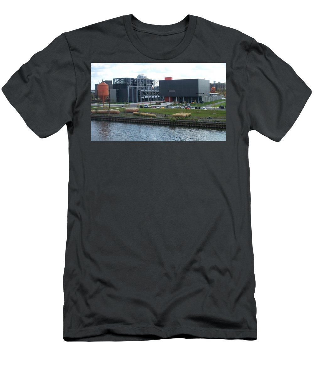 Architechture Men's T-Shirt (Athletic Fit) featuring the photograph Harley Museum Milwaukee by Anita Burgermeister