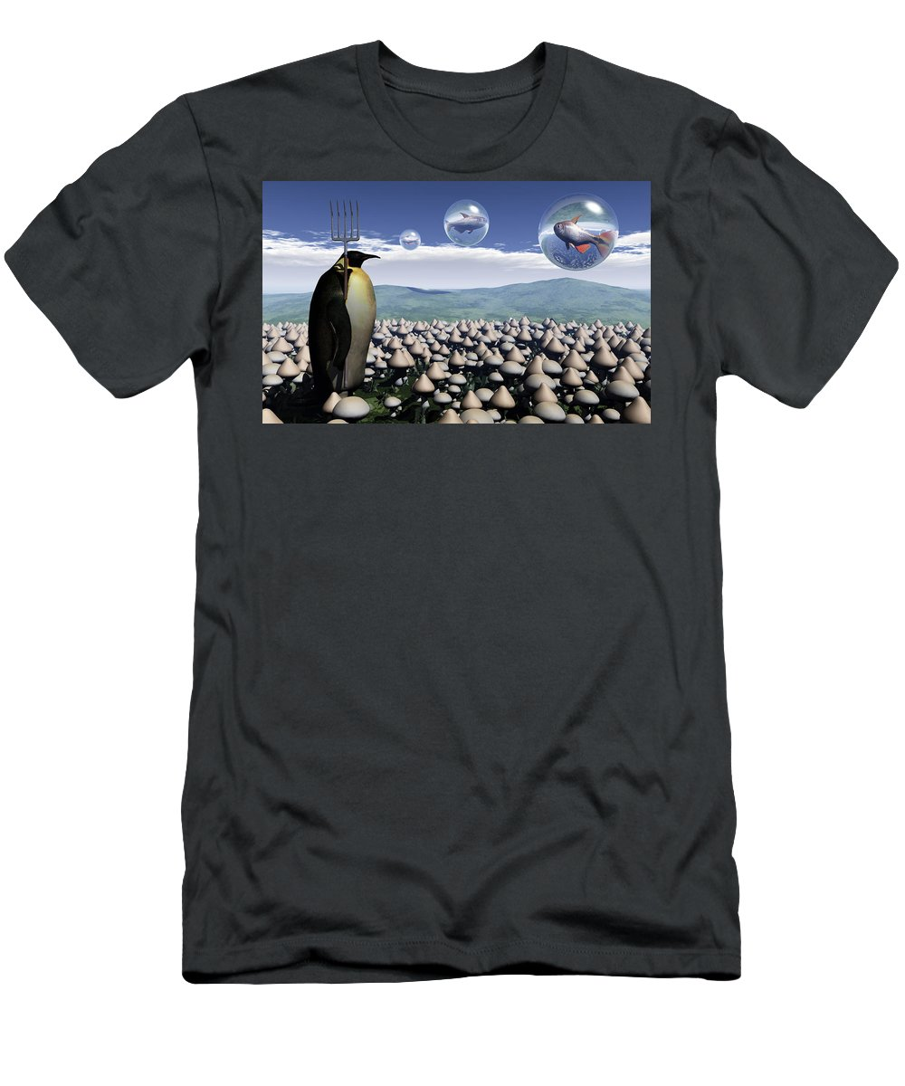 Surreal Men's T-Shirt (Athletic Fit) featuring the digital art Harvest Day Sightings by Richard Rizzo