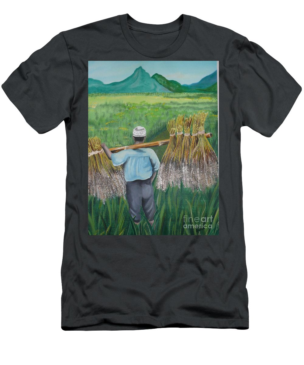 Landscape Men's T-Shirt (Athletic Fit) featuring the painting Harvest by Kris Crollard