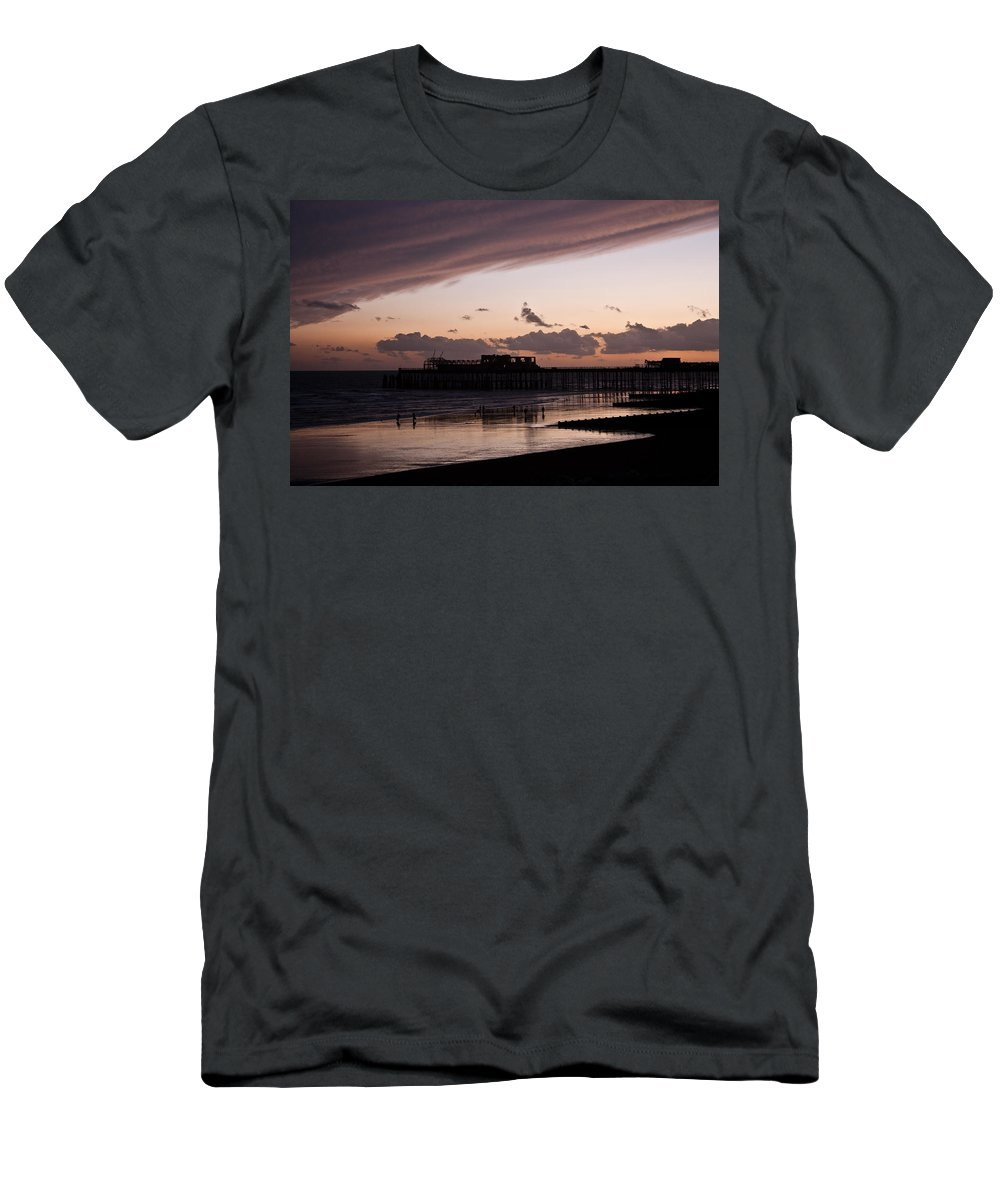 Hastings Pier Men's T-Shirt (Athletic Fit) featuring the photograph Hastings Pier by Dawn OConnor