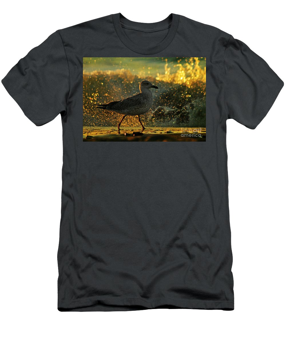 Seagull Men's T-Shirt (Athletic Fit) featuring the photograph Have A Walk By Th Sea by Angel Ciesniarska