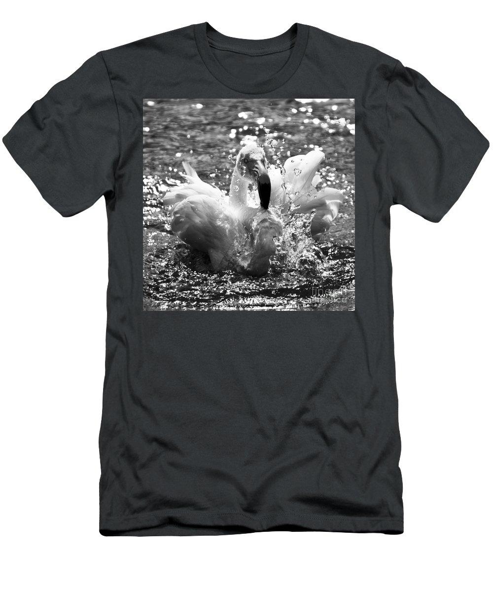 Flamingo Men's T-Shirt (Athletic Fit) featuring the photograph Having A Bath by Angel Ciesniarska