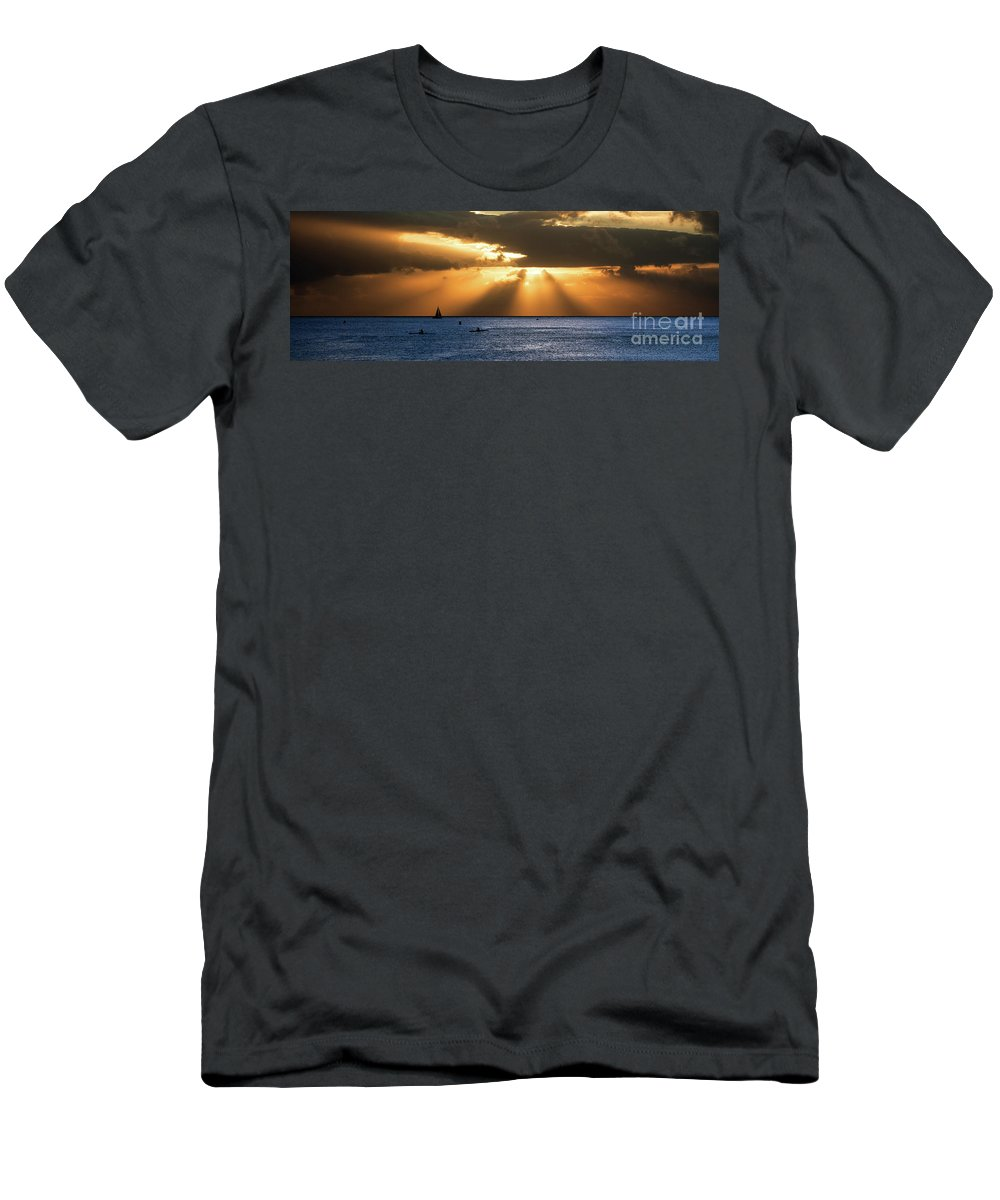 Hawaii Men's T-Shirt (Athletic Fit) featuring the photograph Hawaii Sunset Panorama by Bill Cobb