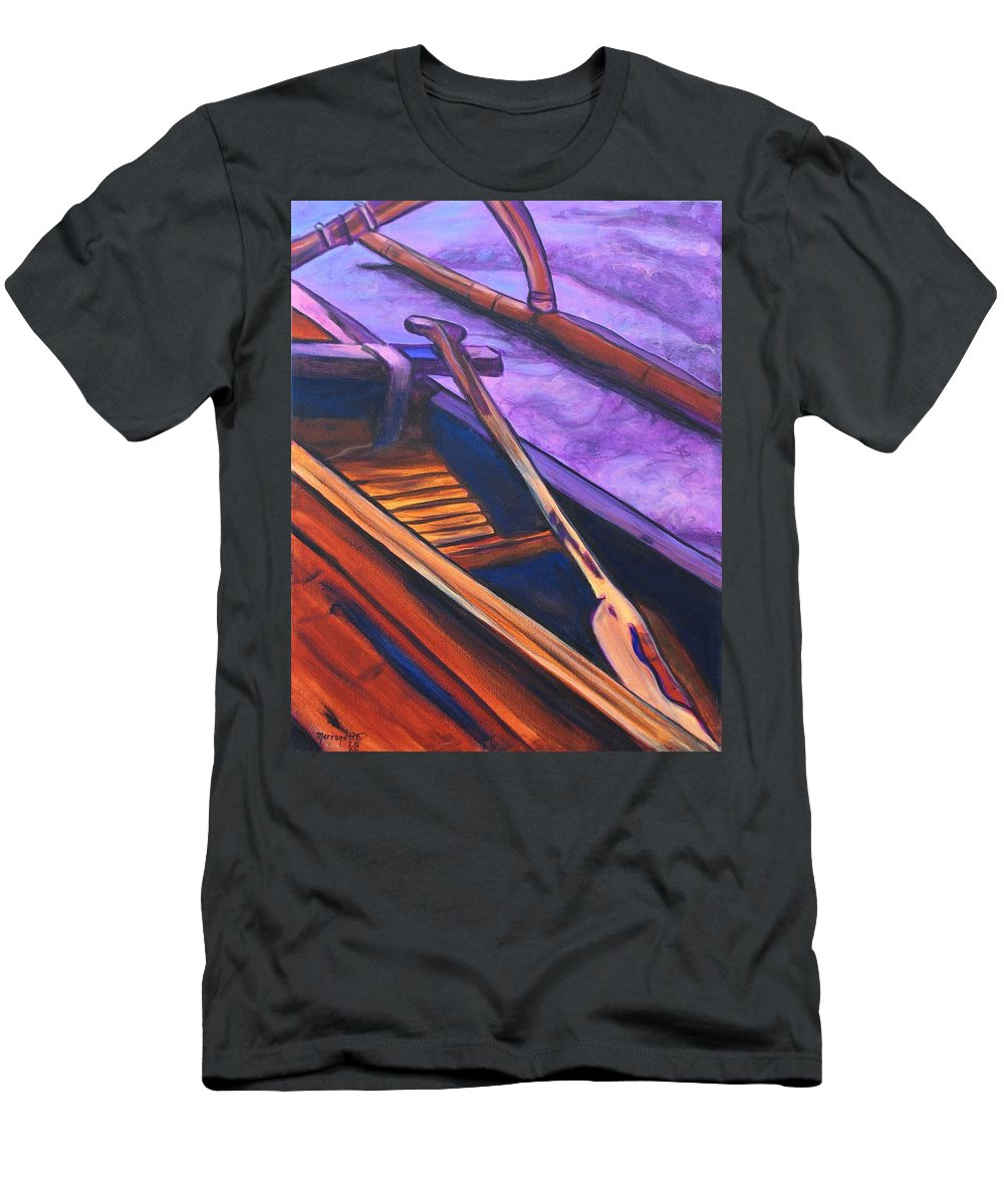 Canoe Men's T-Shirt (Athletic Fit) featuring the painting Hawaiian Canoe by Marionette Taboniar