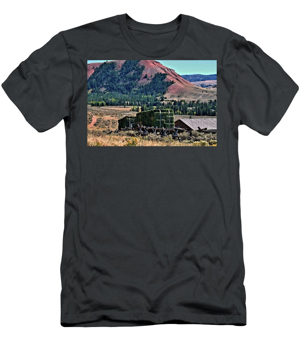 Farm Men's T-Shirt (Athletic Fit) featuring the photograph Hay Wagons by G Berry