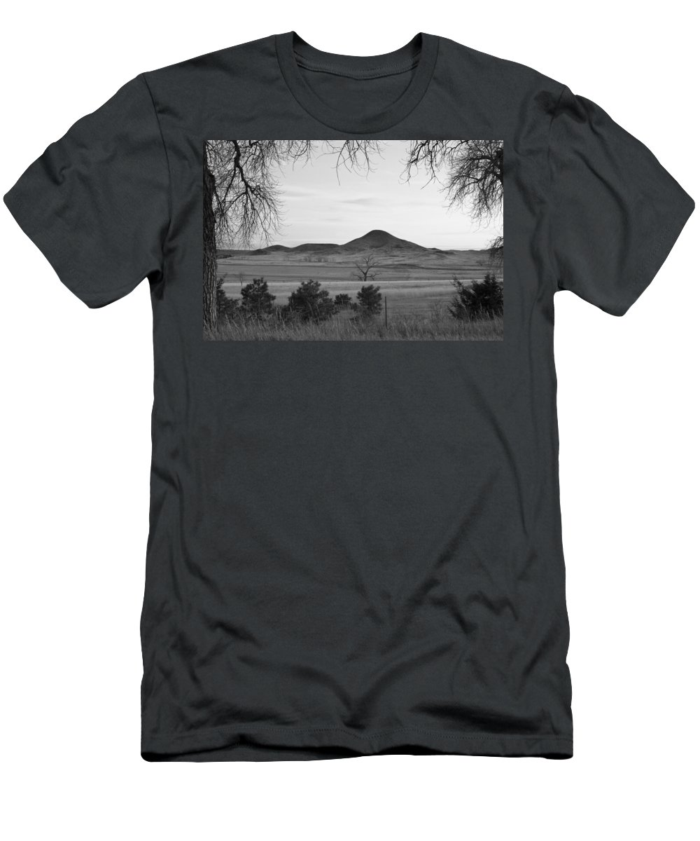 Boulder Men's T-Shirt (Athletic Fit) featuring the photograph Haystack Mountain - Boulder County Colorado - Black And White Ev by James BO Insogna
