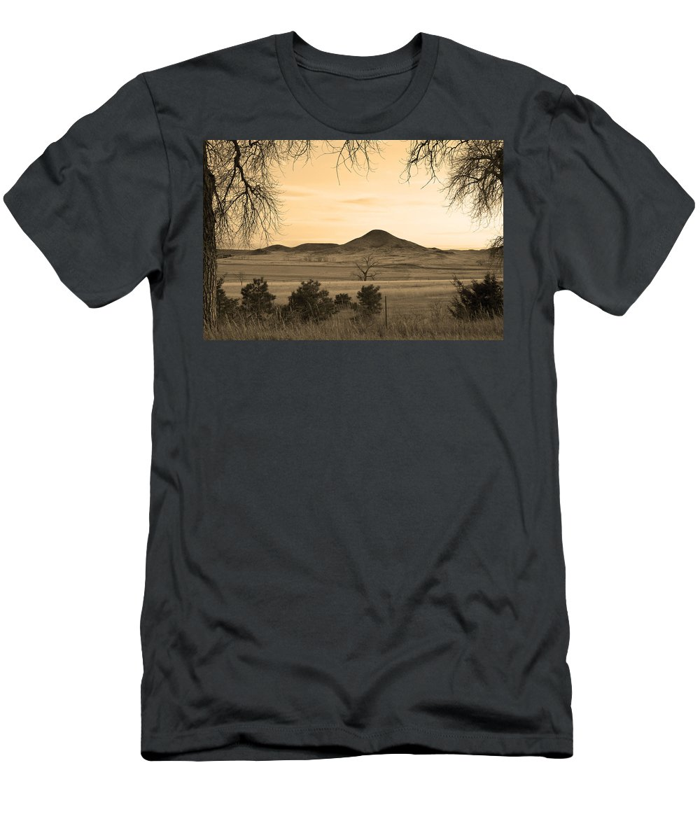 Boulder Men's T-Shirt (Athletic Fit) featuring the photograph Haystack Mountain - Boulder County Colorado - Sepia Evening by James BO Insogna