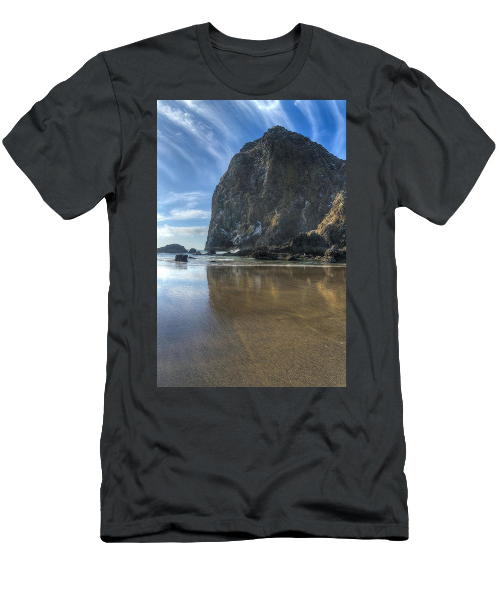 Cannon Beach Men's T-Shirt (Athletic Fit) featuring the photograph Haystack Rock by John Trax
