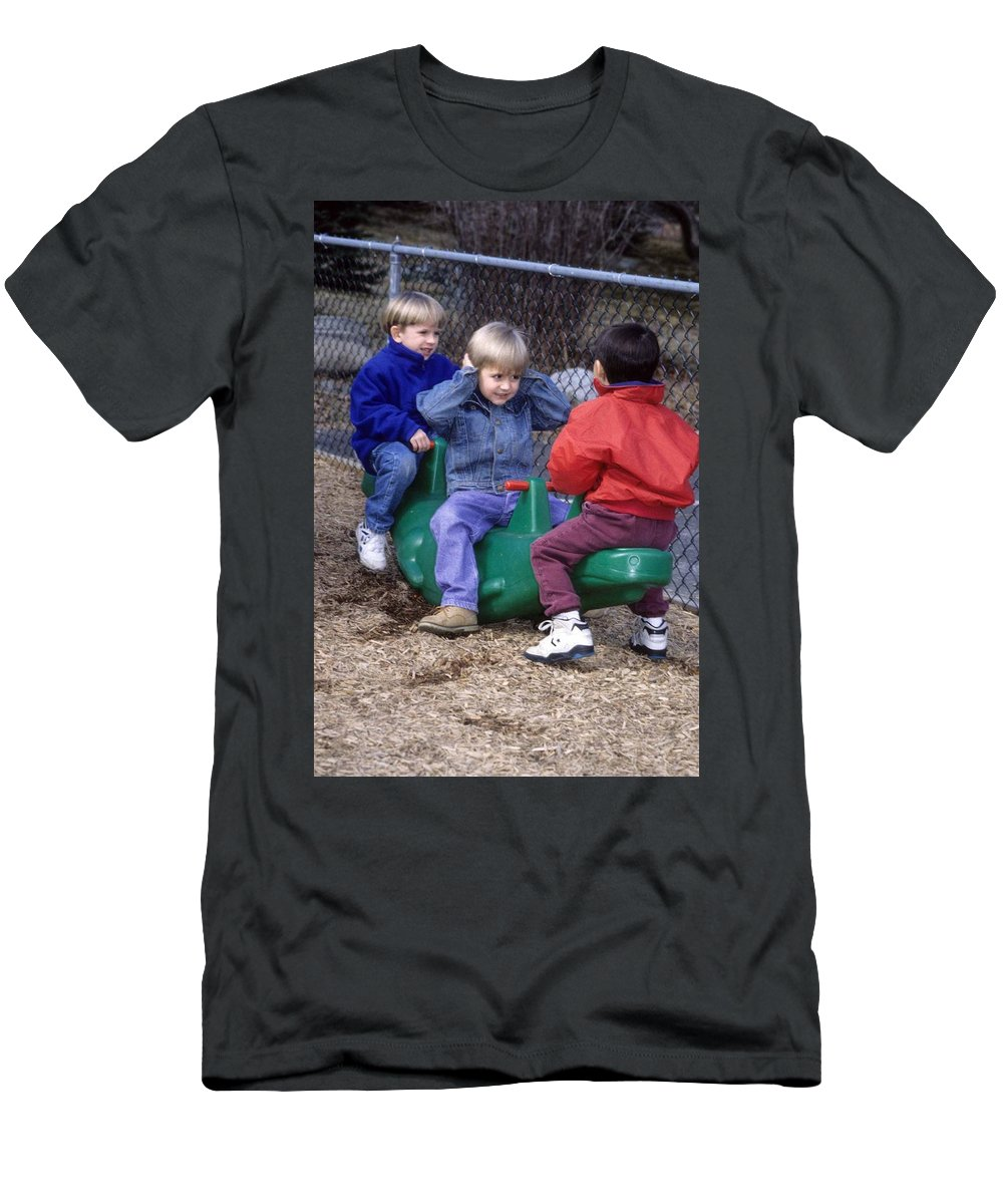 Children Men's T-Shirt (Athletic Fit) featuring the photograph Hear No Evil See No Evil Speak No Evil by Laurie Paci