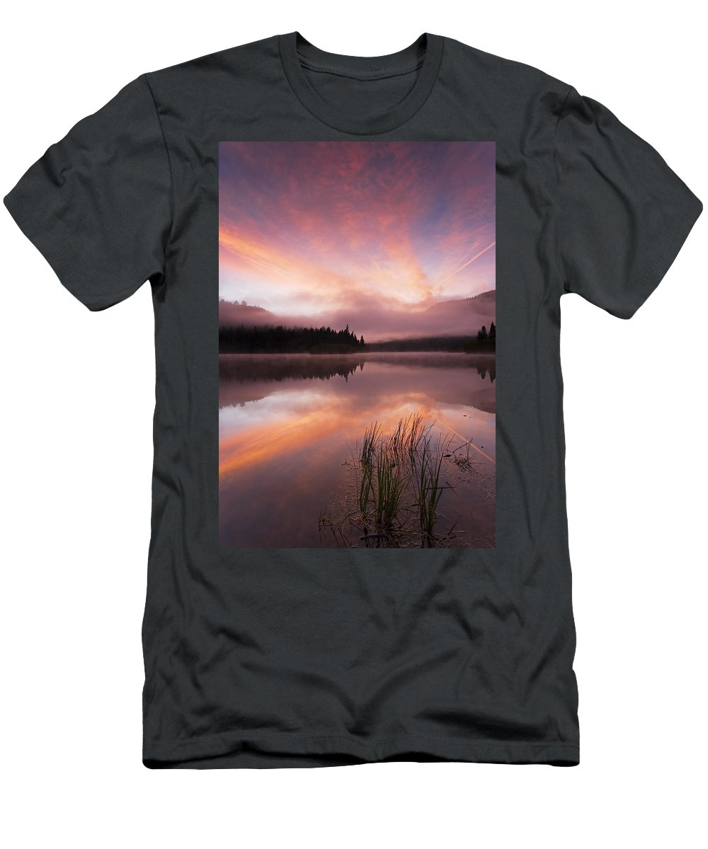 Sunrise Men's T-Shirt (Athletic Fit) featuring the photograph Heavenly Skies by Mike Dawson