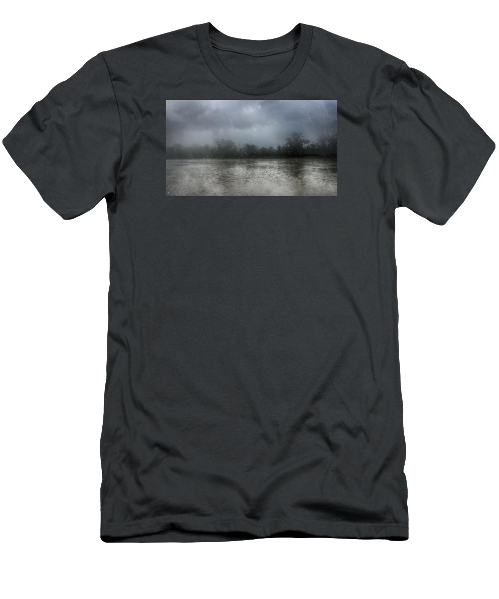 River Men's T-Shirt (Athletic Fit) featuring the photograph Heavy Rain Over A River by Nika Lerman