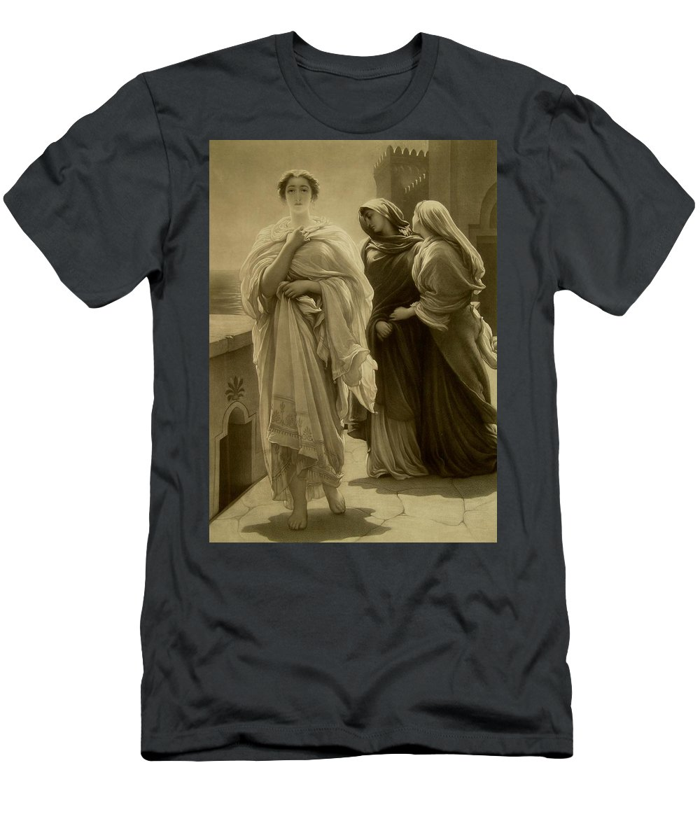 Female; Mythological; Legend; Helena; Trojan;homer; Iliad; Beauty; Necklace; Jewellery; Jewelry; Beautiful; Legendary; Portrait; Full Length; Romantic; Monochrome; Pre-raphaelite Men's T-Shirt (Athletic Fit) featuring the drawing Helen Of Troy by Frederic Leighton